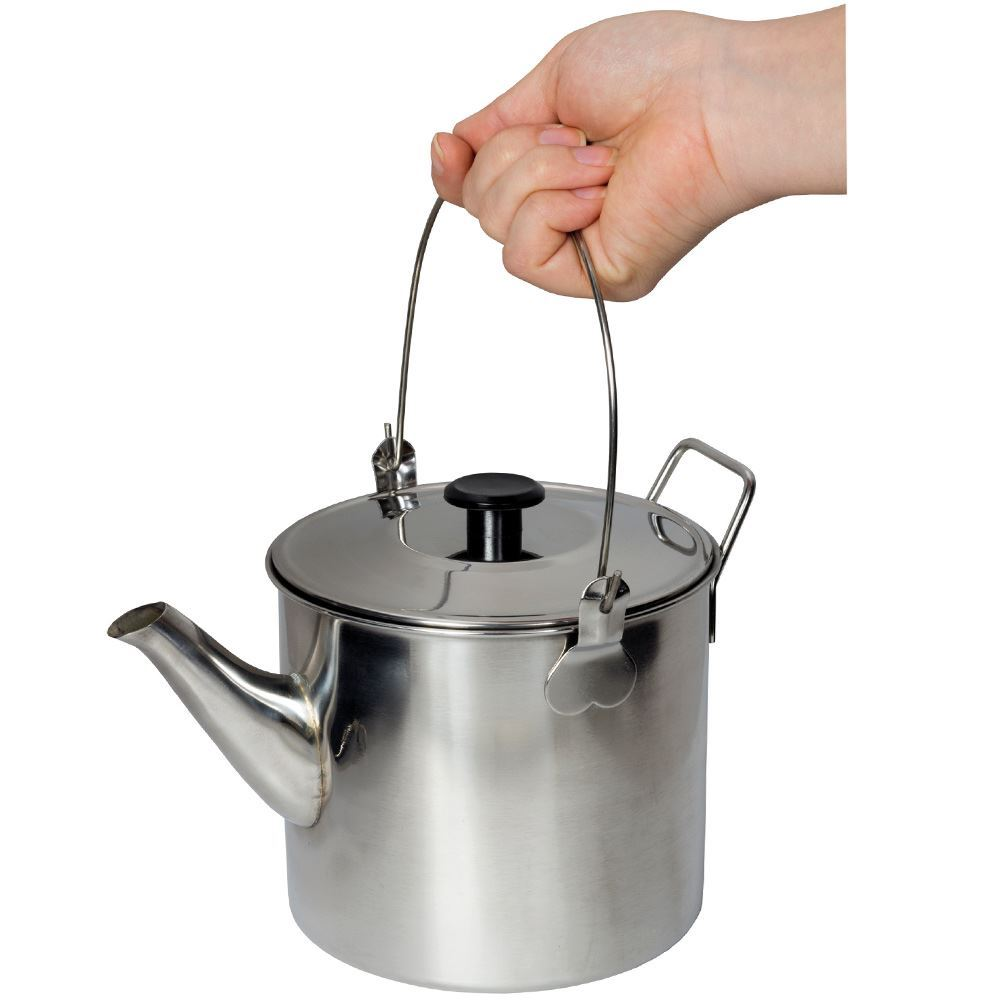 Campfire Billy Teapot Stainless Steel - Holding from handle