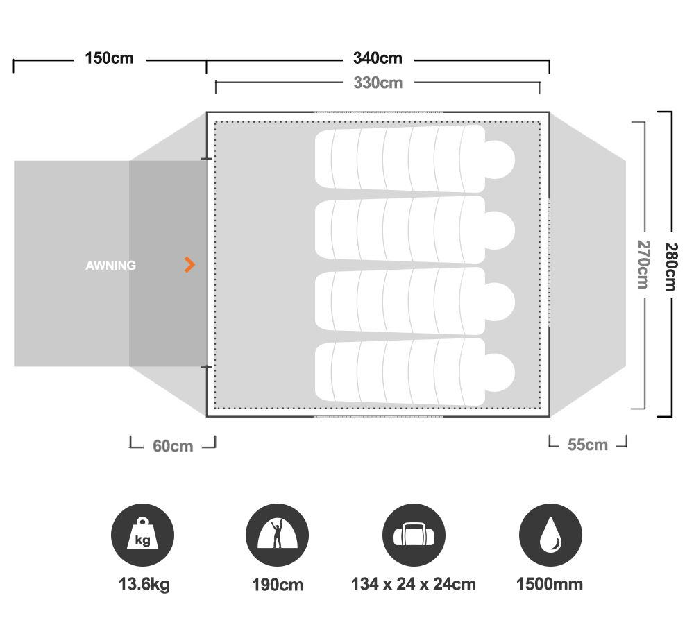 Instant Up 6P Tent - Floorplan