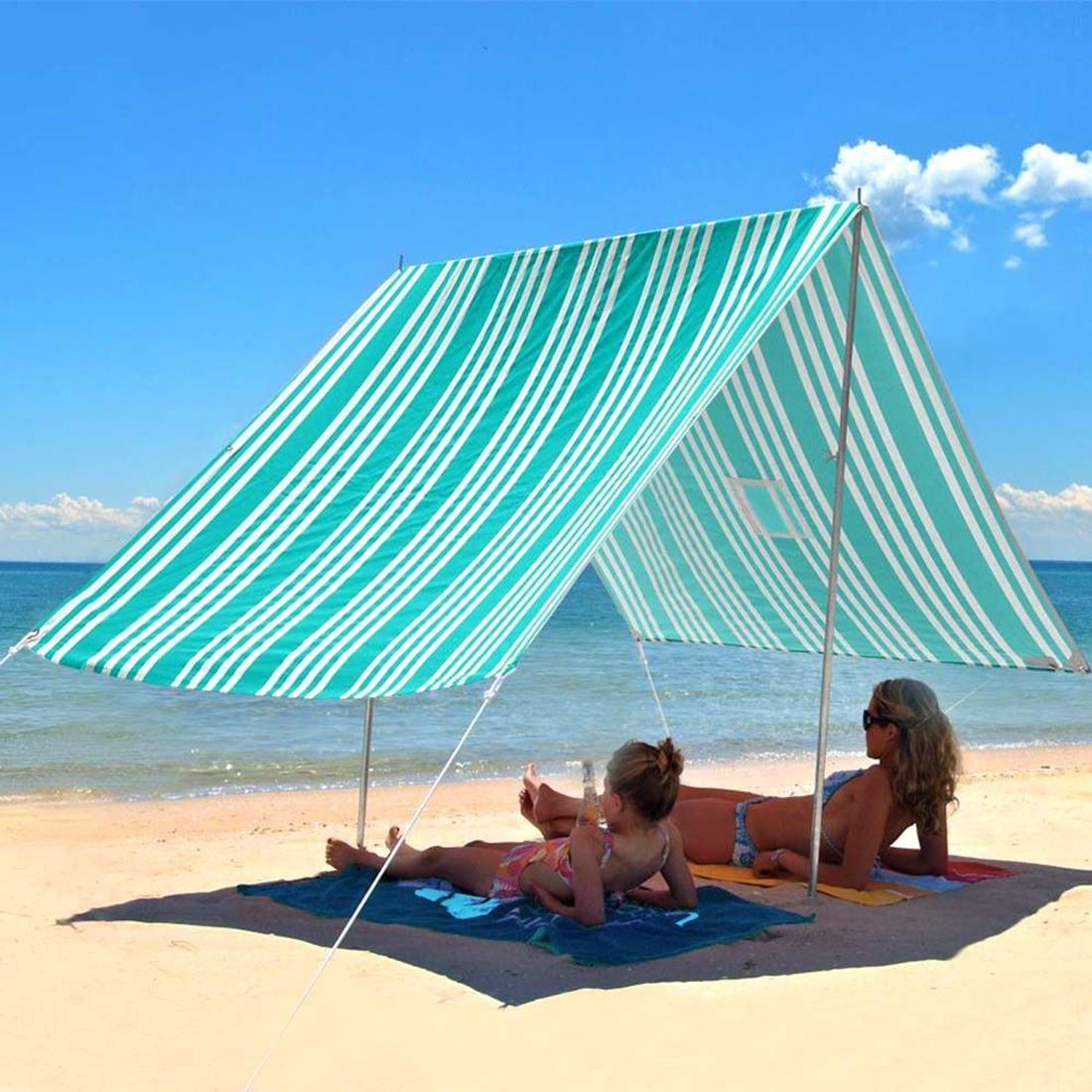 Hollie & Harrie Sombrilla Beach Shade Iridescent Stripe Turquoise