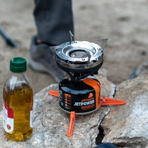 JetBoil Stainless Steel Pot Support - on hiking stove