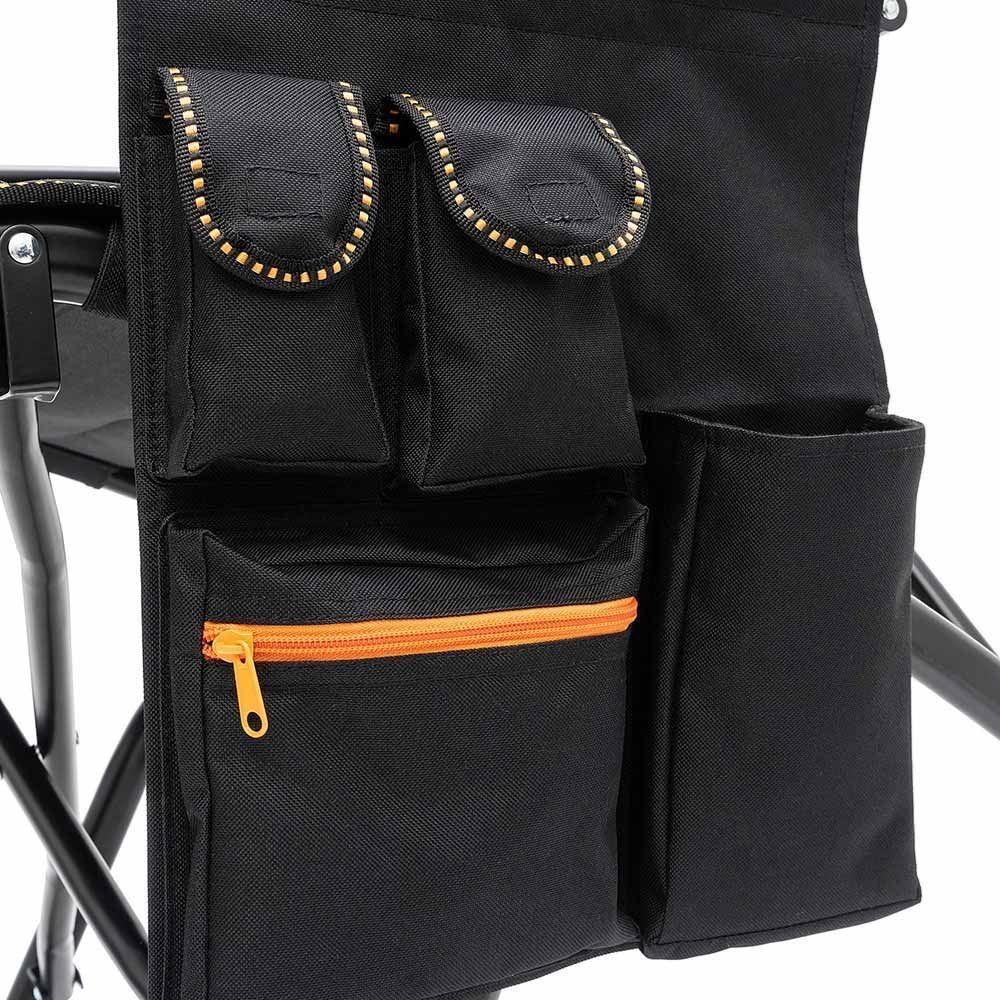 Darche Vipor XVI Camp Chair Black Orange Storage Panel