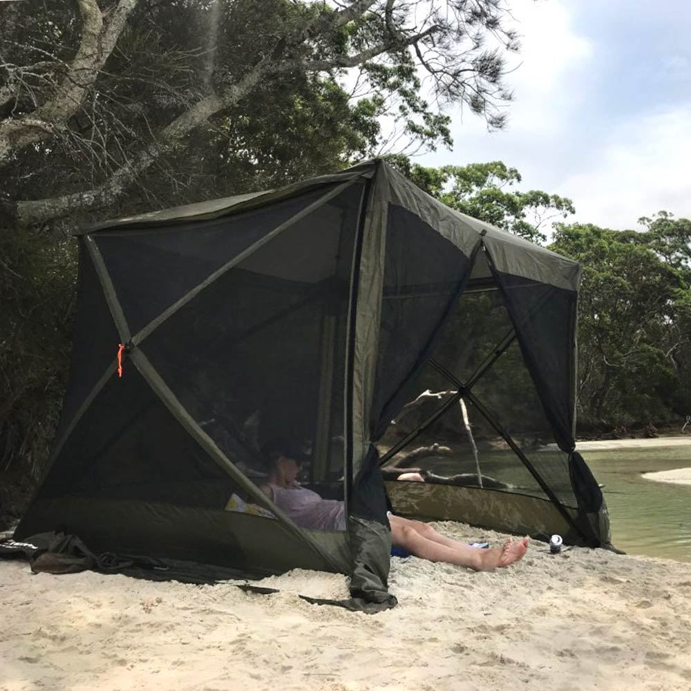 Oztent Screen House - setup on beach