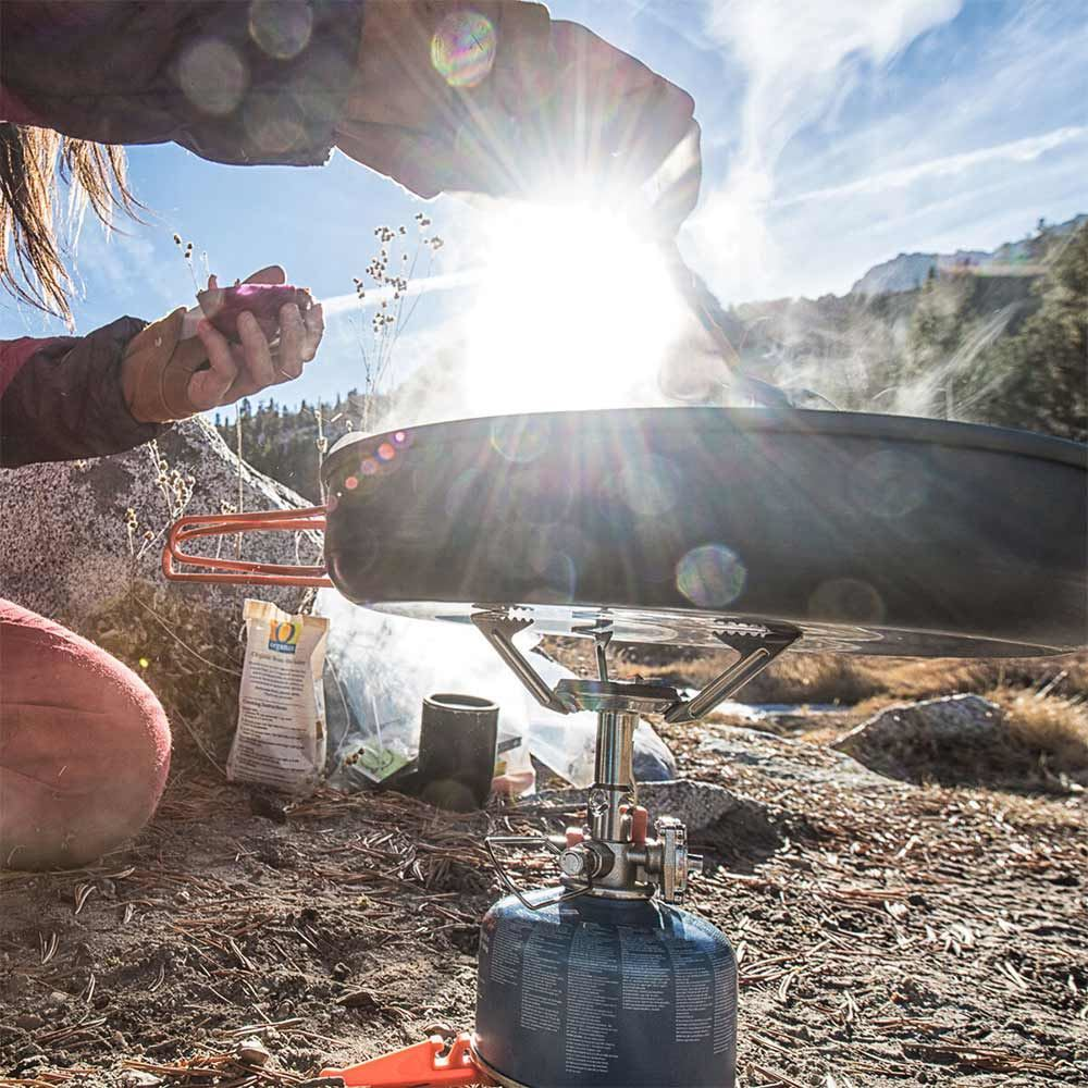 JetBoil MightyMo Hiking Stove - Pan cooking on hiking stove