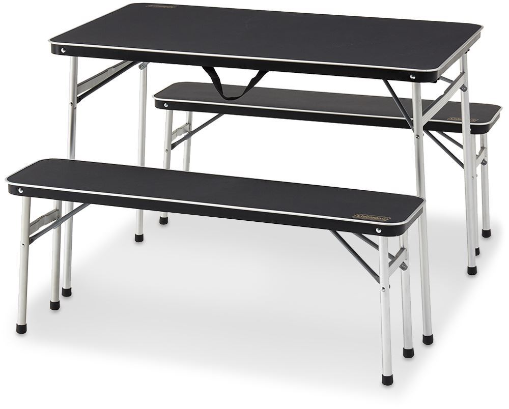 Coleman Table & Bench 3 Piece Set Aluminium