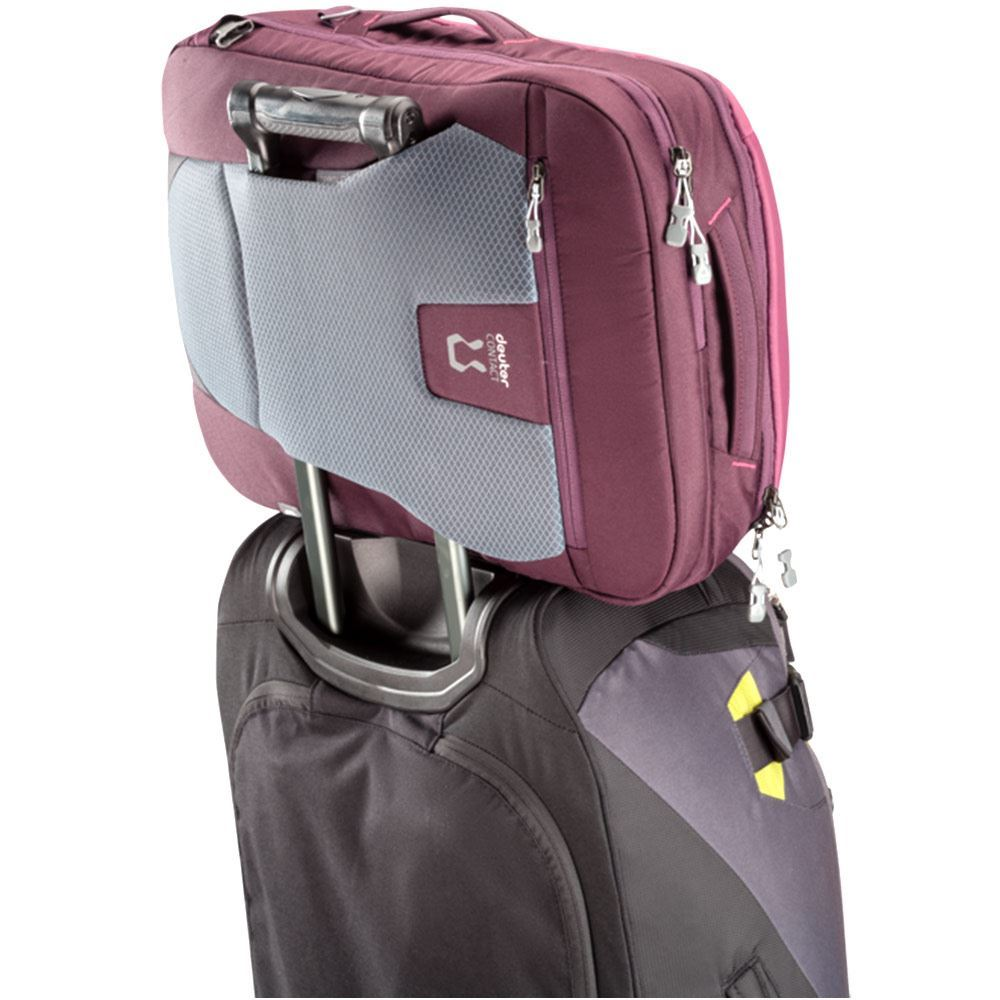 Deuter AViANT Carry On Pro 36 SL Maron Aubergine - Resting on trolley luggage
