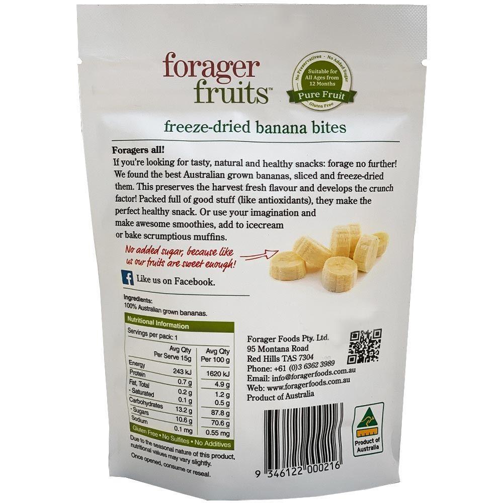 Forager Fruits Banana Bites - Nutritional Information