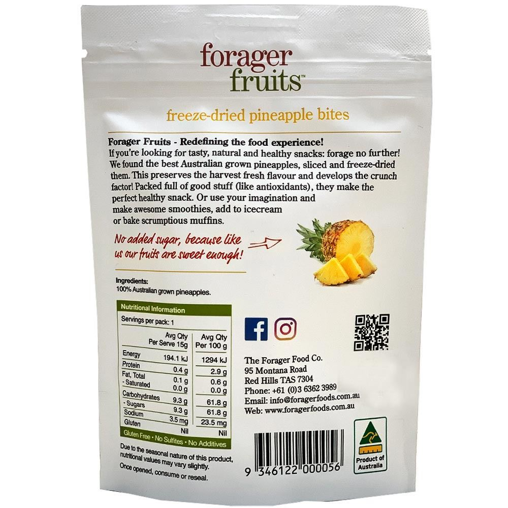 Forager Fruits Pineapple Bites 15gm - Nutritional Information