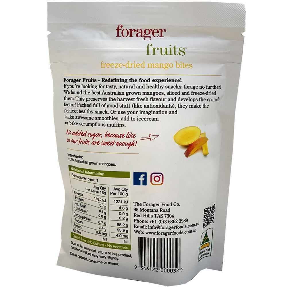 Forager Fruits Mango Bites 15gm - Nutritional Information