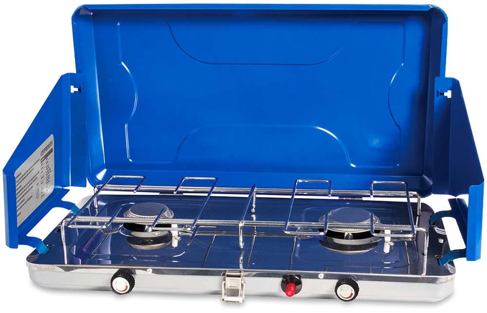 Companion Weekender 2 Burner Stove - open with wind shields upright