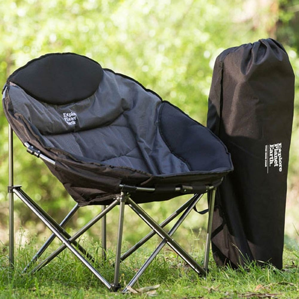 Explore Planet Earth Titan Moon Chair - Setup outdoors with chair bag resting next to the chair