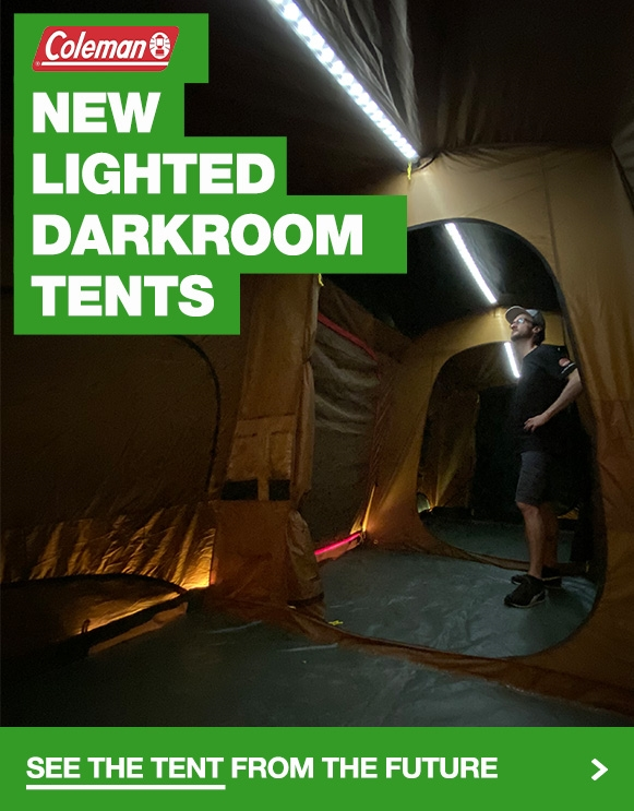 Popular Coleman Instant Up Darkroom Tent now has built in lighting