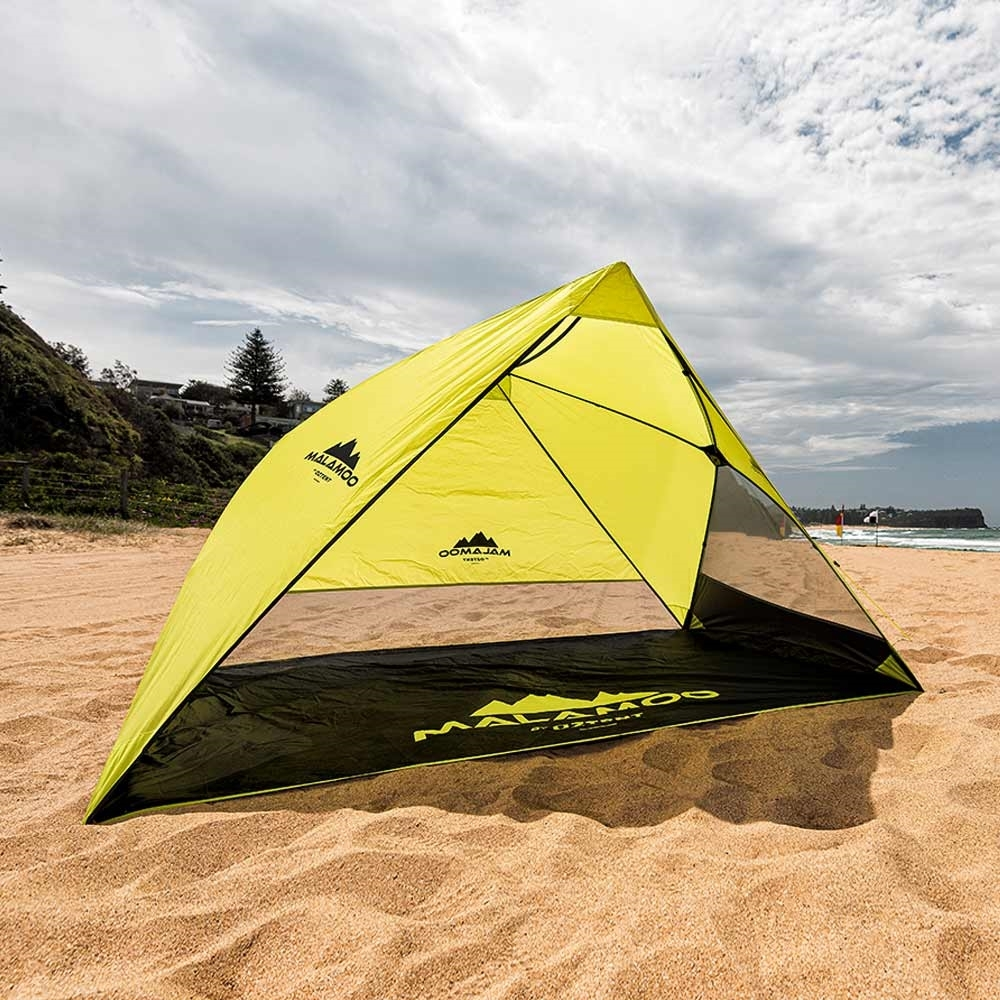 Oztent Malamoo 2-Hub Beach Shelter Front View On Beach