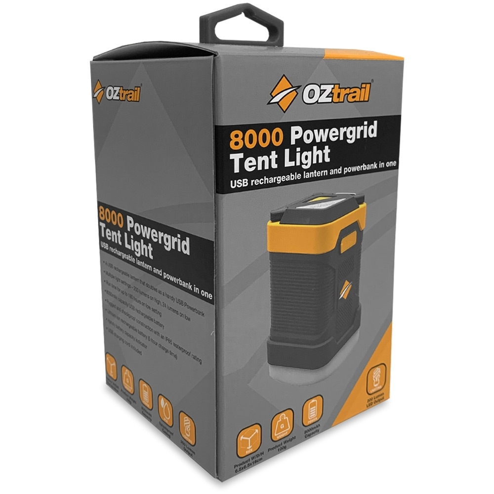 OZtrail Powergrid Tent Light 8000 - Box