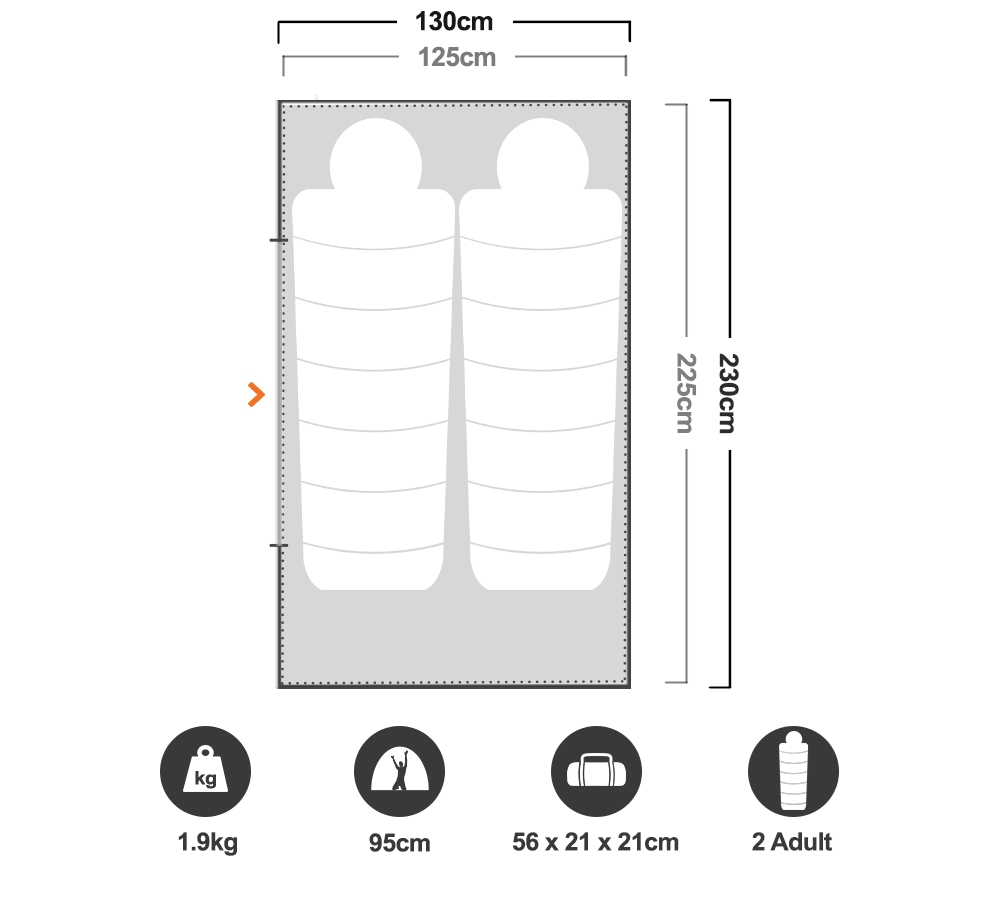 Mozzie Dome II Tent - Floorplan