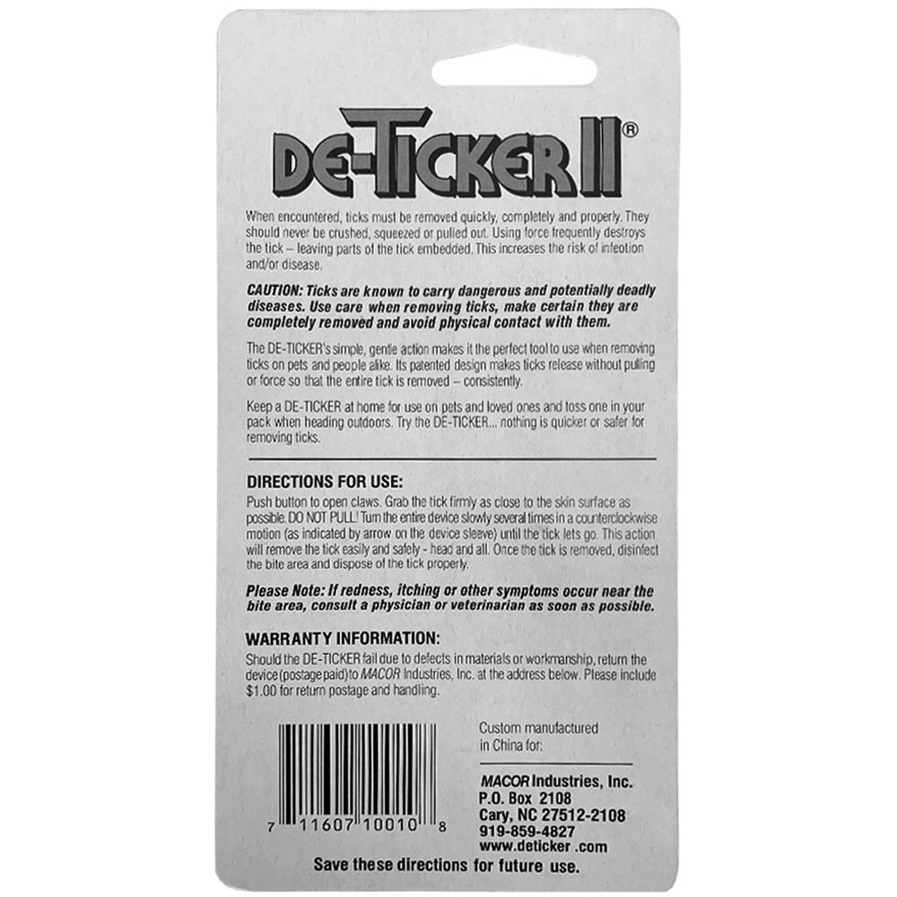 De-Ticker Tick Remover II with Clip - Back of packaging