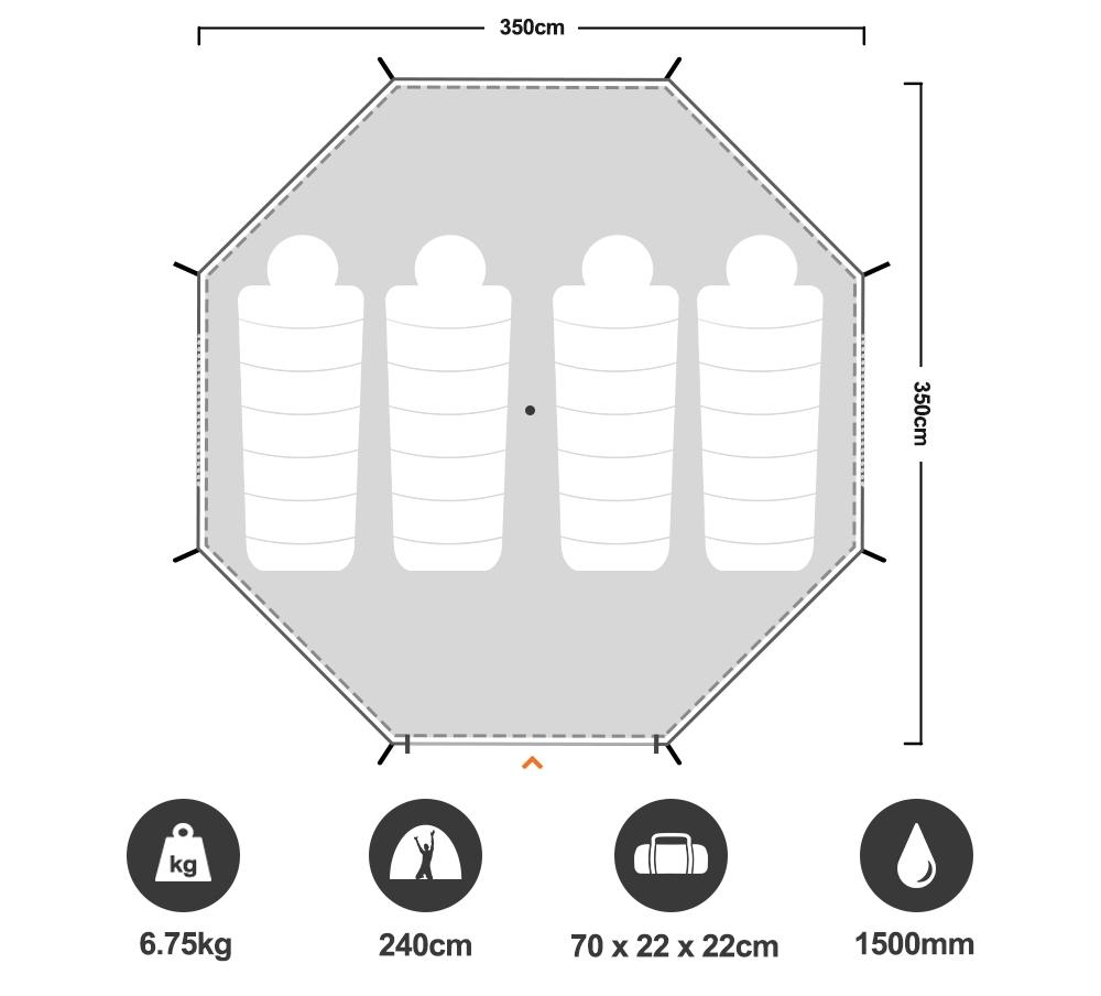 Malamoo Teepee 6 Tent - Floorplan