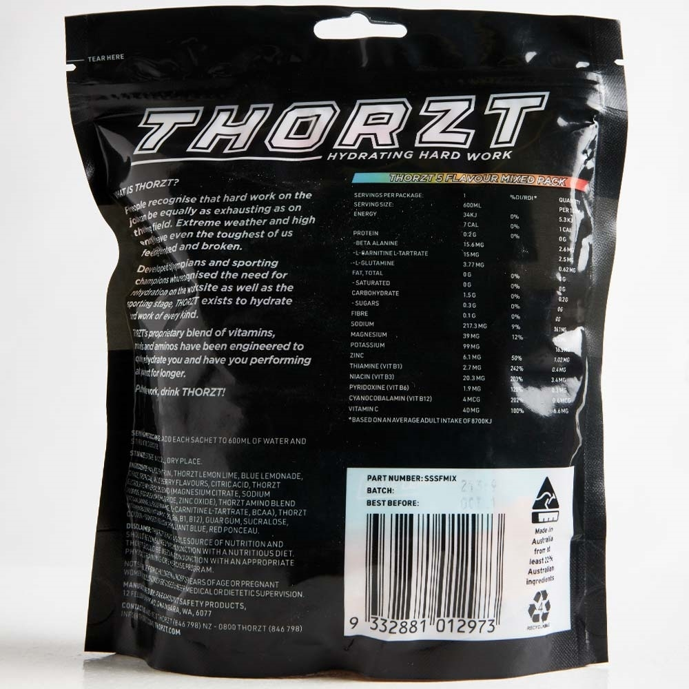 Thorzt Solo Shots 50 Pk Mixed Flavours - Back of packaging