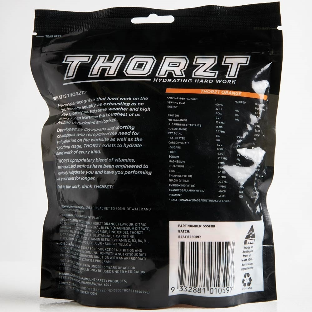Thorzt Solo Shots 50 Pk Orange - Back of packaging