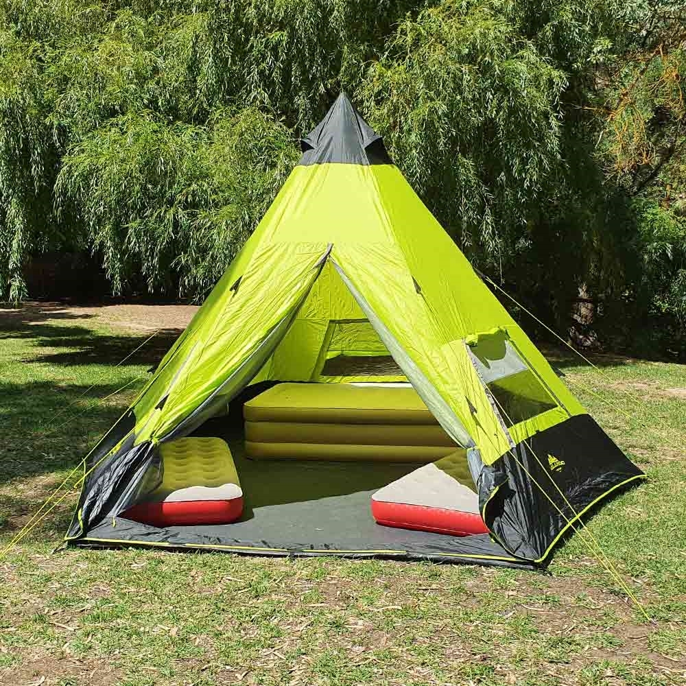 Oztent Malamoo Teepee 9 - with 3 Coleman mattresses inside