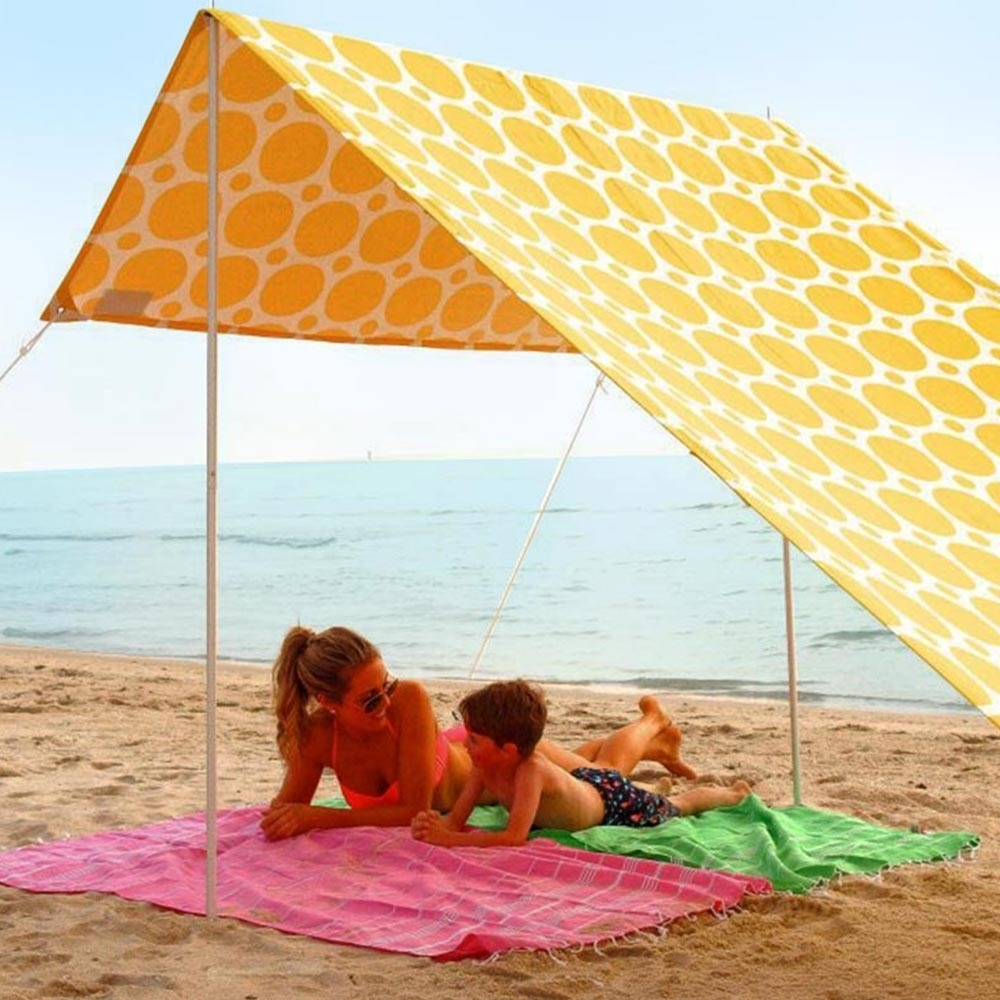 Hollie & Harrie Sombrilla Beach Shade Morning Sunshine - Mother and son lying underneath shade