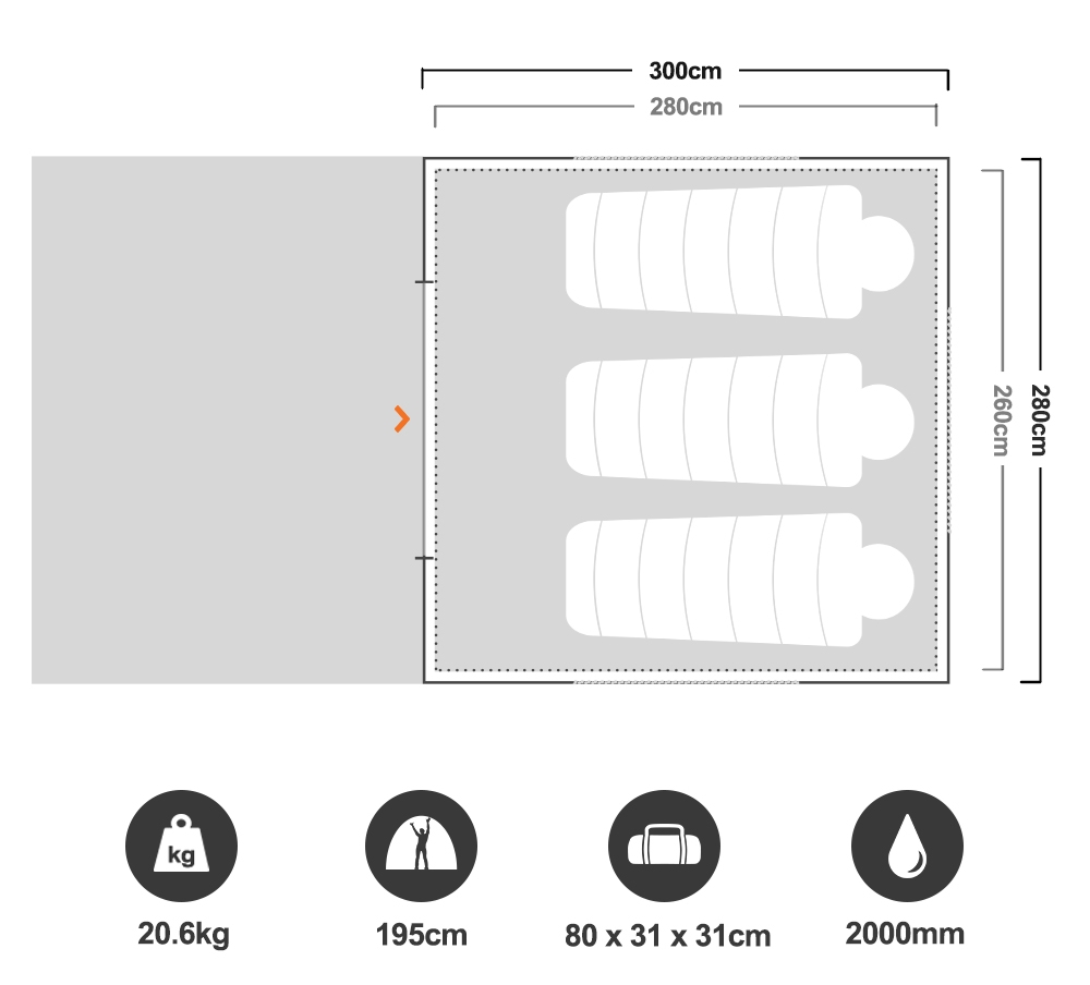 Aria Elite 1 Tent - Floorplan