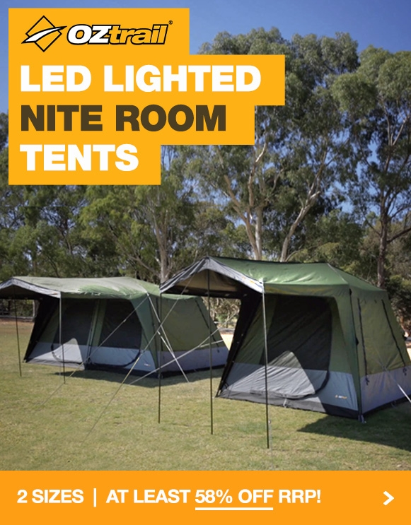 Crazy discounts on the brand new OZtrail Lodge 240 Tourer LED Fast Frame Tent
