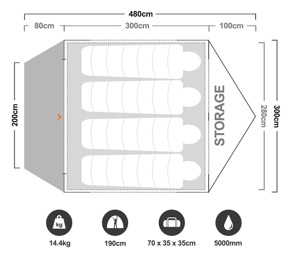 Jetset 5 Inflatable Air Tent - Floorplan