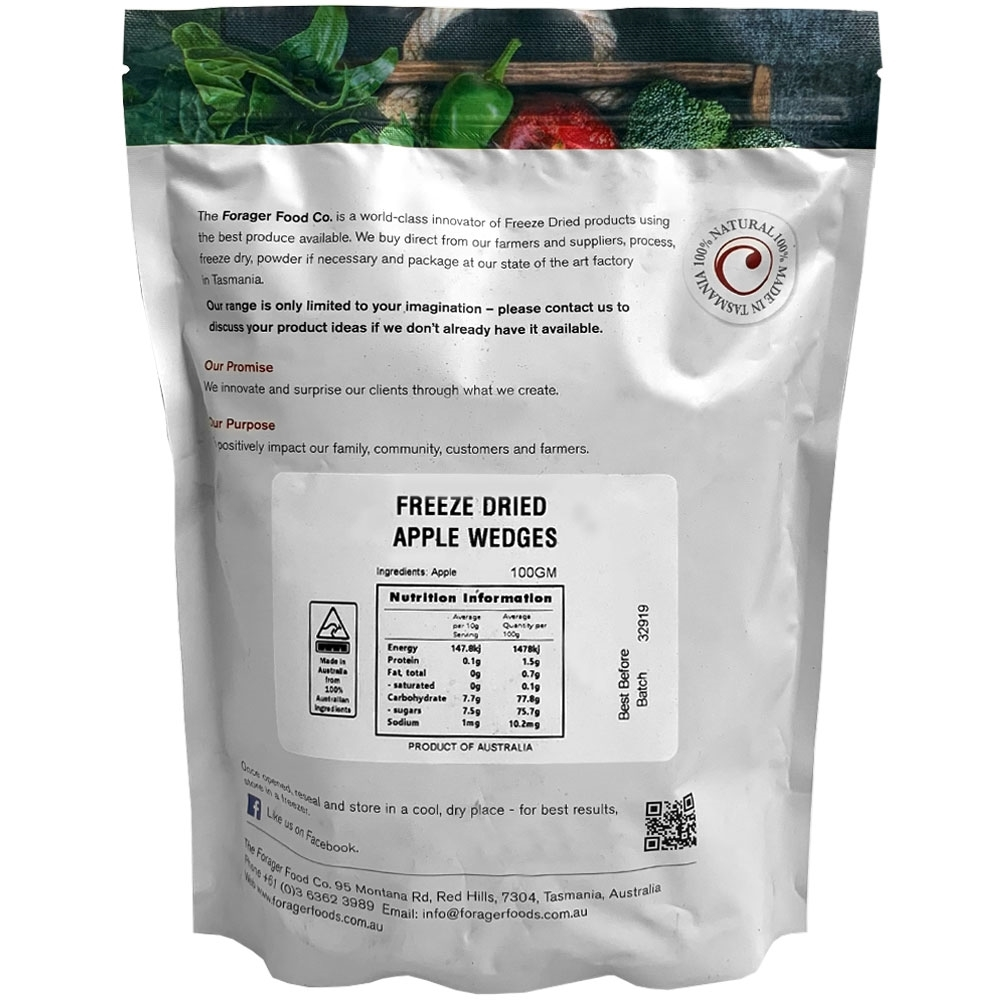 Forager Fruits Apple Wedges - Back of packaging 100gm