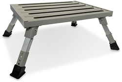 On The Road RV Heavy Duty Folding Step with Adjustable Legs - Legs fully extended