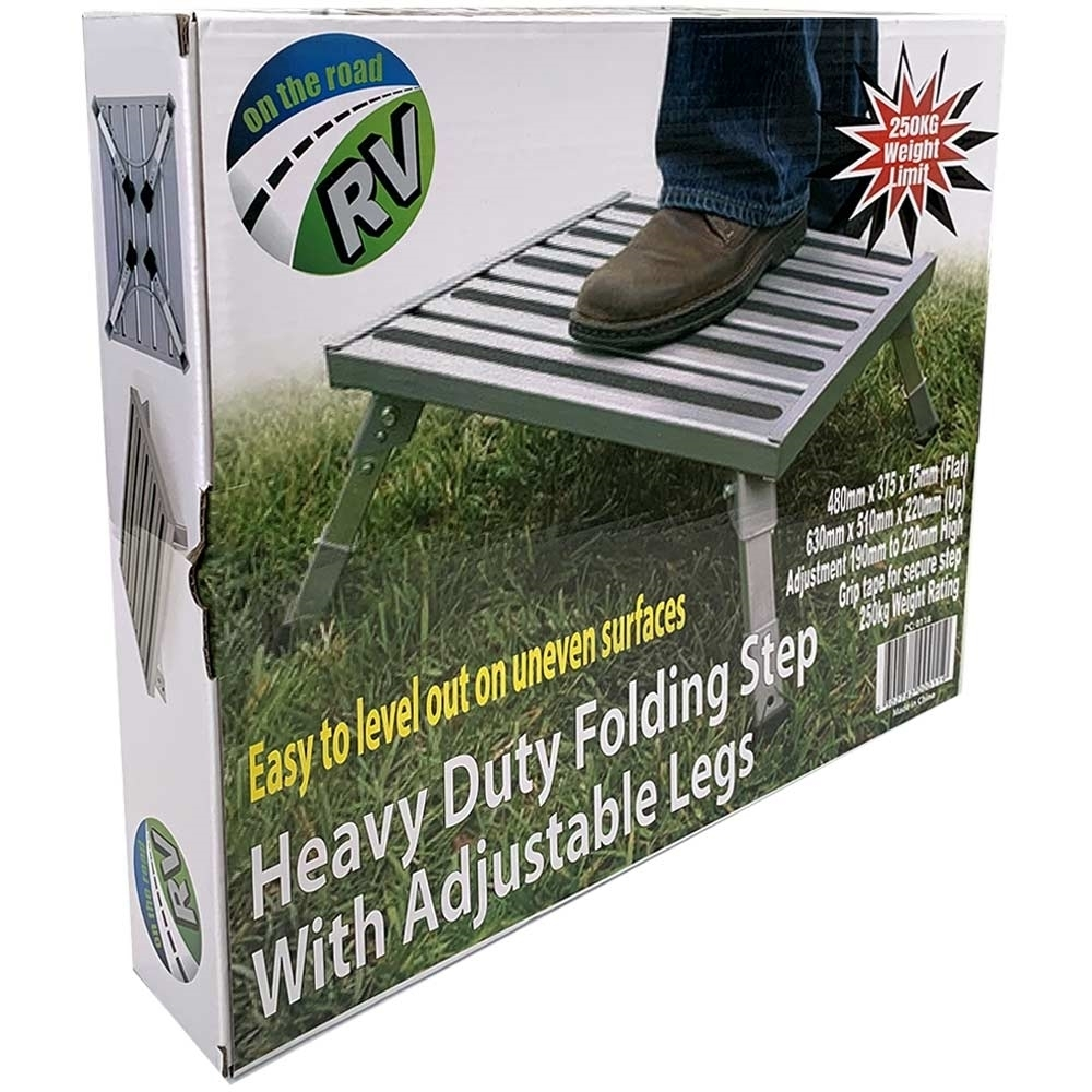 Wanderer Heavy Duty Folding Step with Adjustable Legs - Packaging
