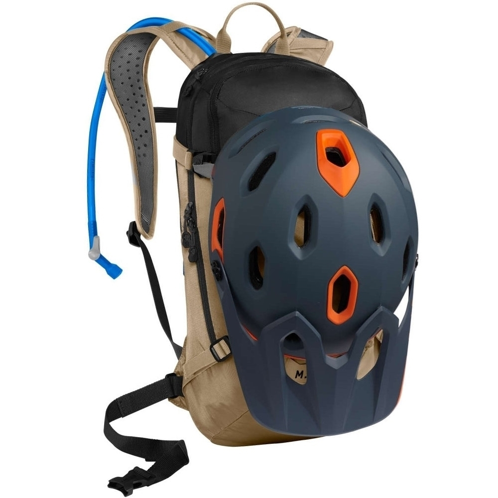 Camelbak M.U.L.E 3L Hydration Pack Kelp Black - Helmet and Armor Carry: Stow and secure helmet, knee and elbow pads