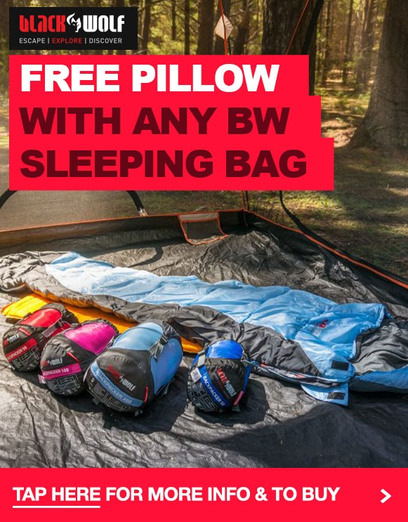 Free Air Lite Pillow with any Black Wolf Sleeping Bag!