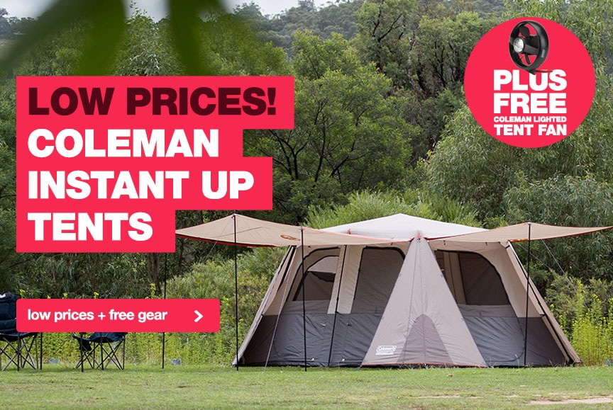 Lowest prices on Coleman Instant Up Tents, plus a free lighted tent fan!