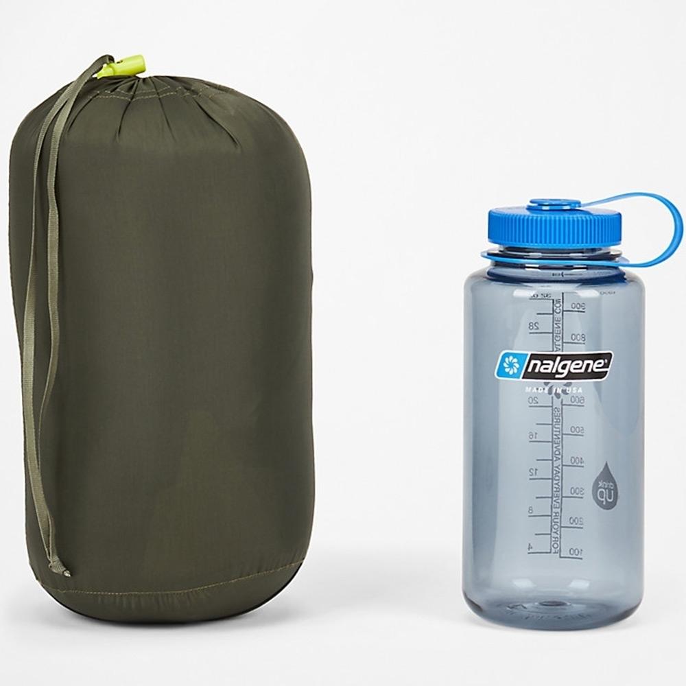 Marmot Phase 30 Sleeping Bag - Packed next to 1L Nalgene Bottle
