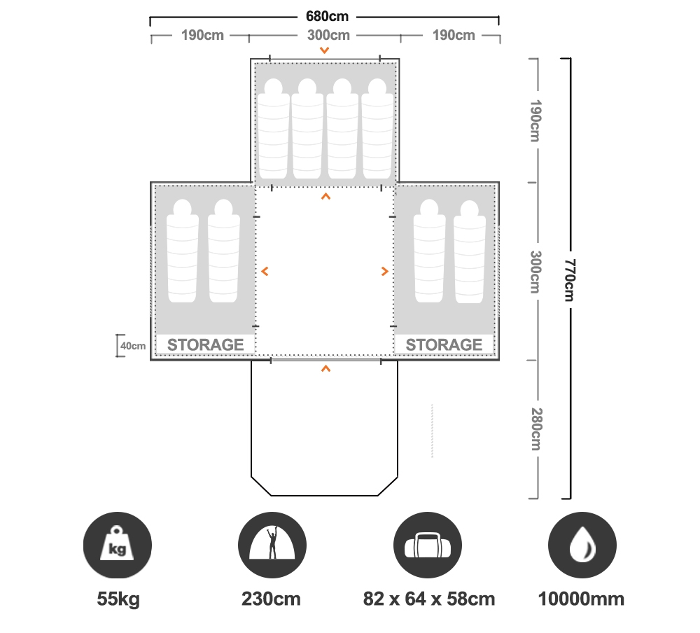 Aerodome III Pro Air Tent - Floorplan