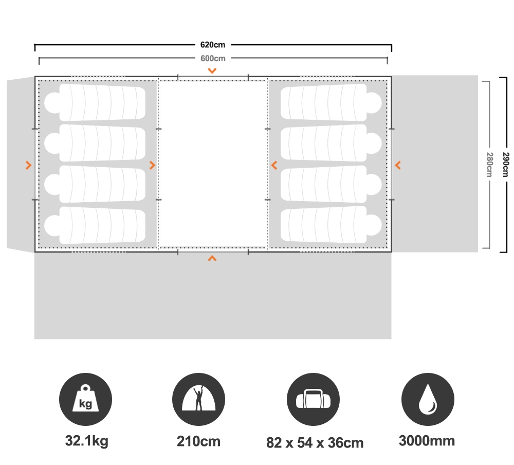 Brampton 3 Room Dome Tent - Floorplan