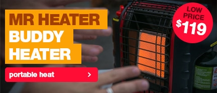 Lowest price in Australia on the popular Mr Heater Portable Buddy HeaterLow price