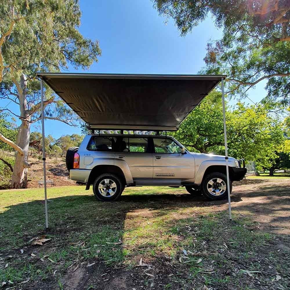 Raven 2500 Side Pull Out Awning with LST 2.5 x 2.5m - Setup on vehicle outdoors