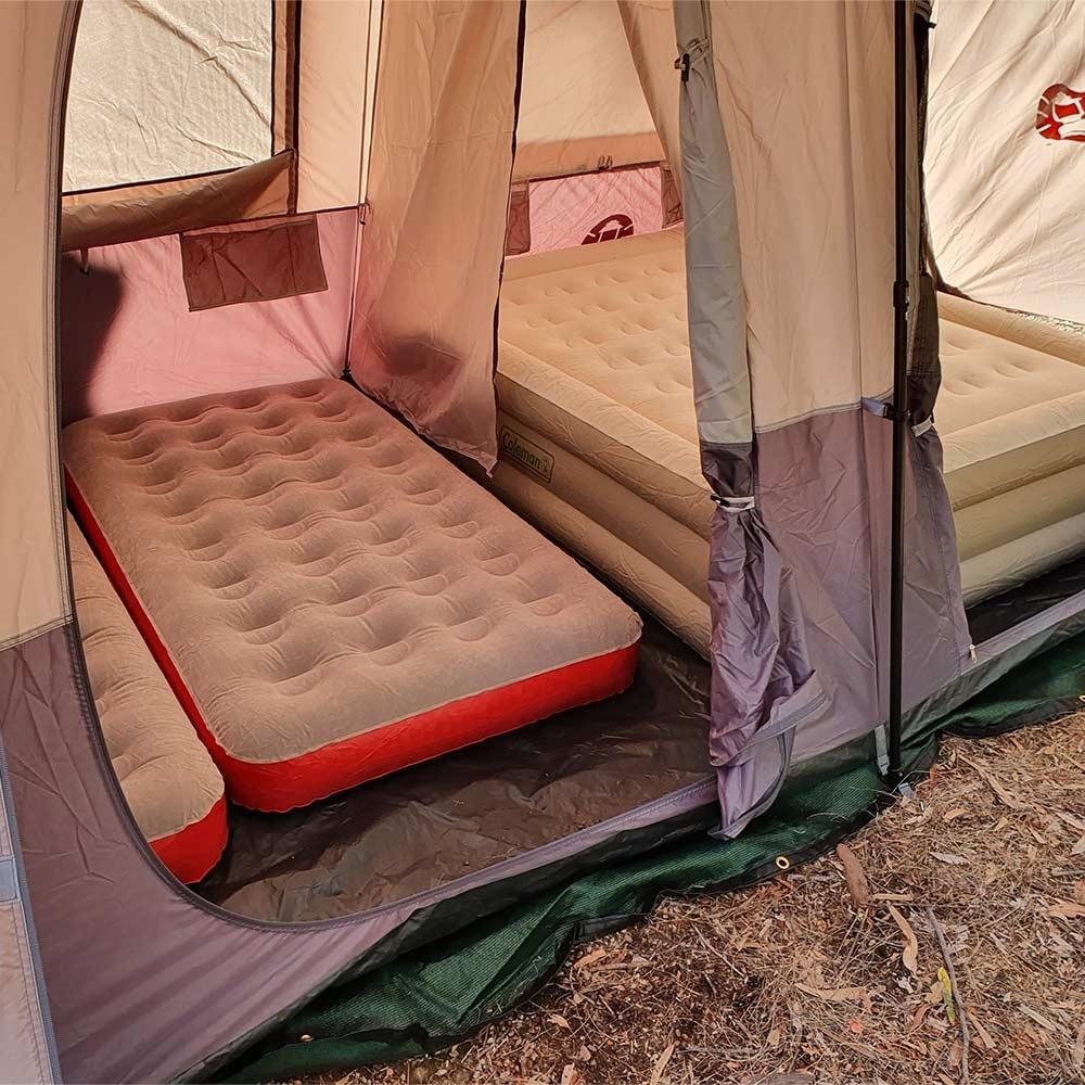 Coleman Instant Up Silver 8P Side Entry Tent - with Coleman queen and 2 single mattresses inside