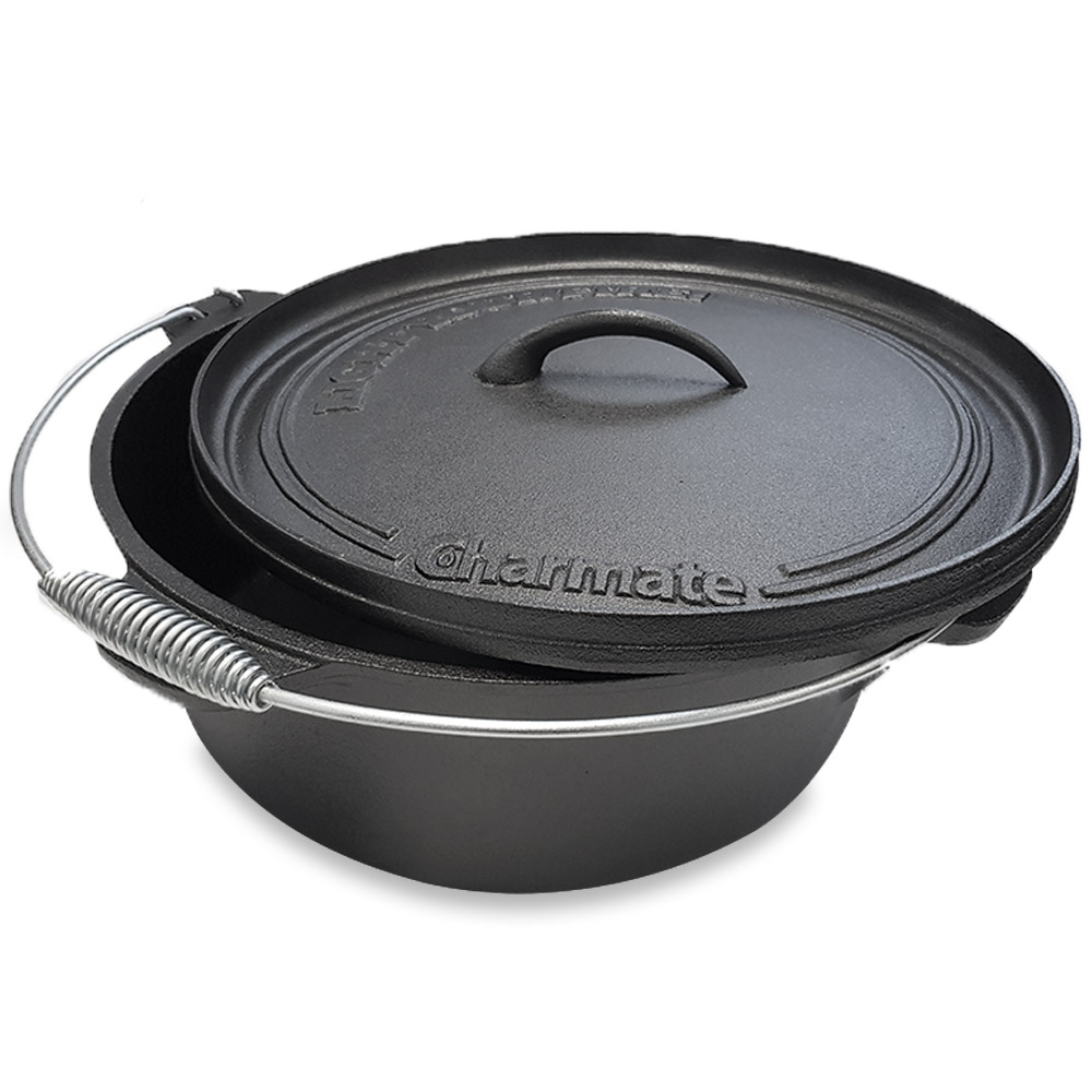 Charmate Round Cast Iron Camp Oven 12 Quart