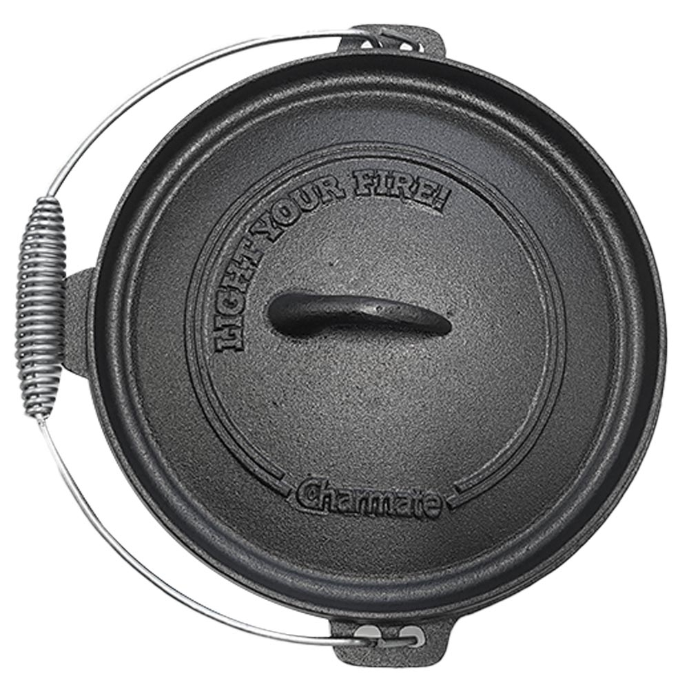 Charmate Round Cast Iron Camp Oven 4.5 Quart