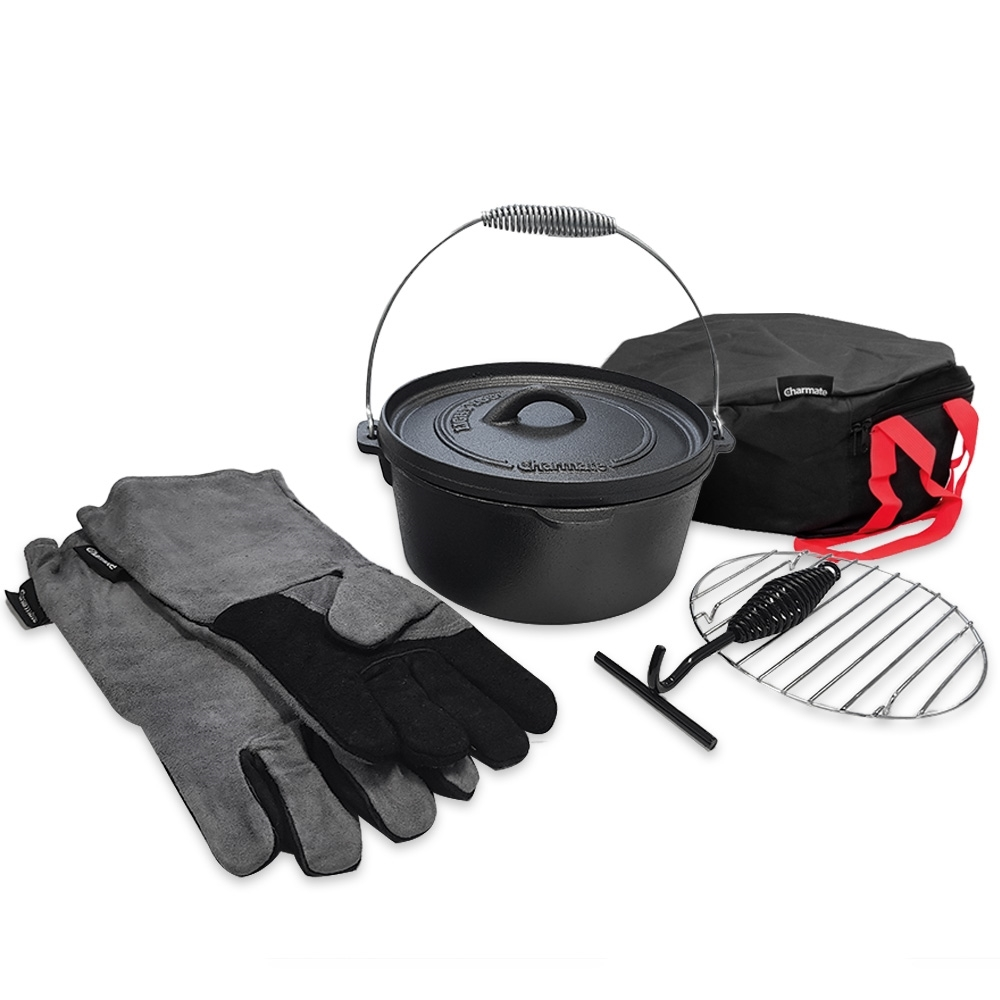 Charmate Cast Iron Camp Oven Kit 4.5 Quart Round