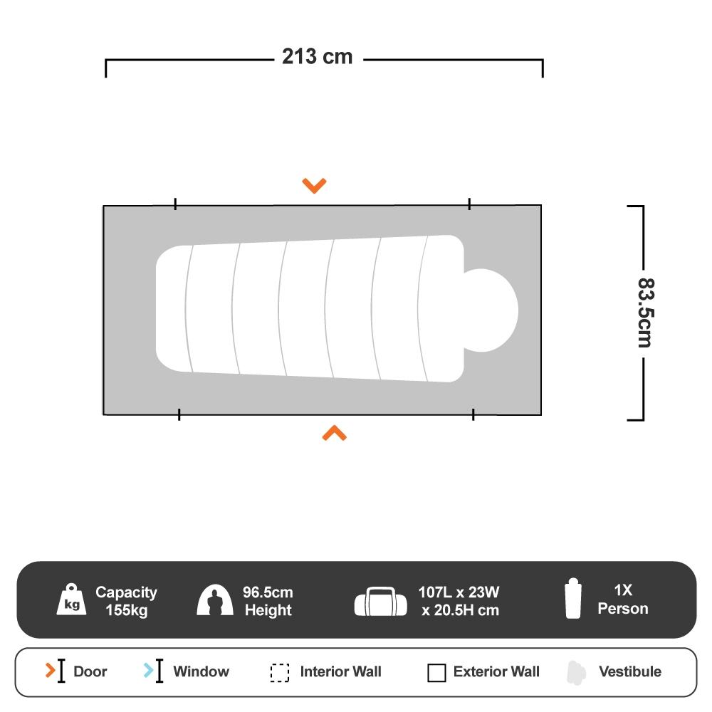 Compact Tent Cot XL - Floorplan