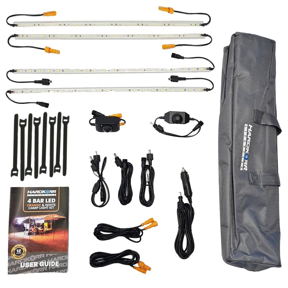 Hard Korr Lifestyle 4 Bar Orange & White LED Camping Light Kit