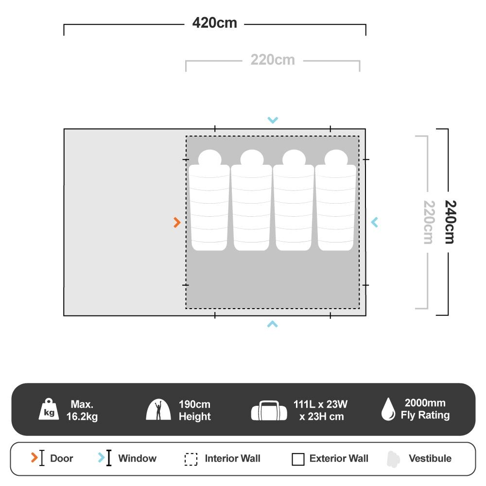 Lodge 240 Tourer LED Fast Frame Tent - Floorplan