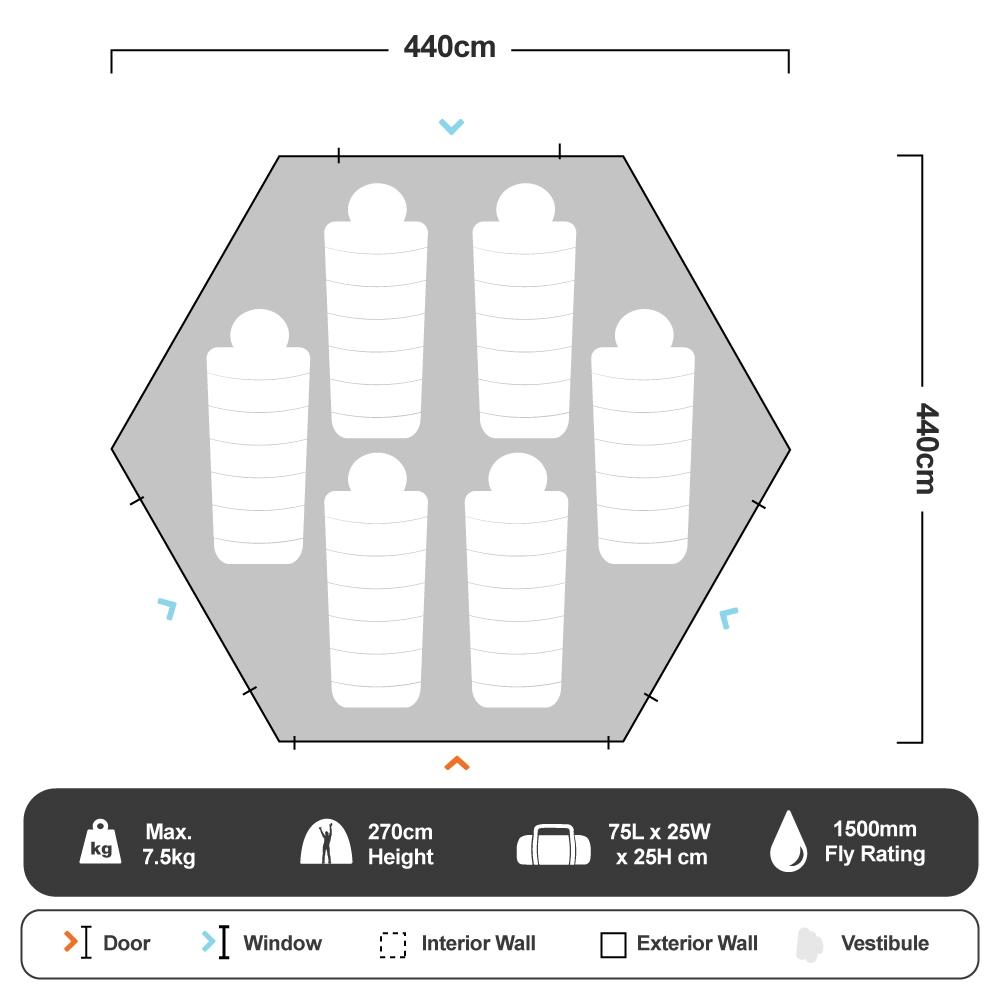Malamoo Teepee 9 Tent - Floorplan