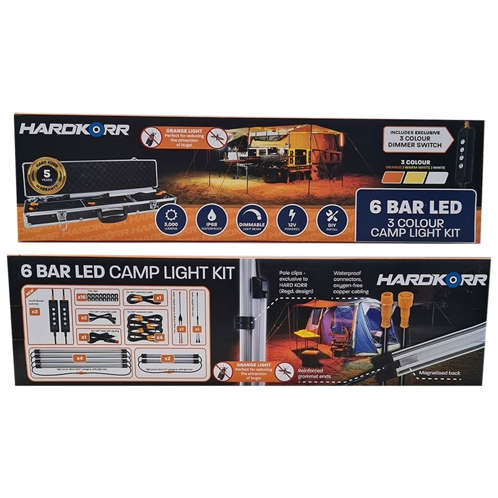 Hard Korr 6 Bar LED 3 Colour Camp Light Kit - Packaging