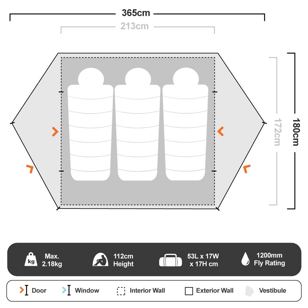 Mutha Hubba™ NX 3P Tent - Floorplan