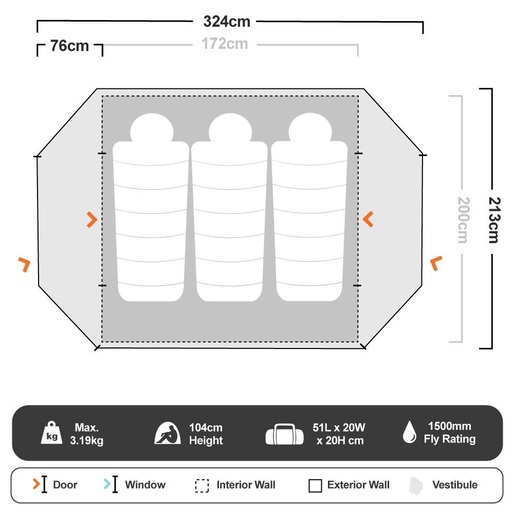 Elixir 3 Hiking Tent - Floorplan