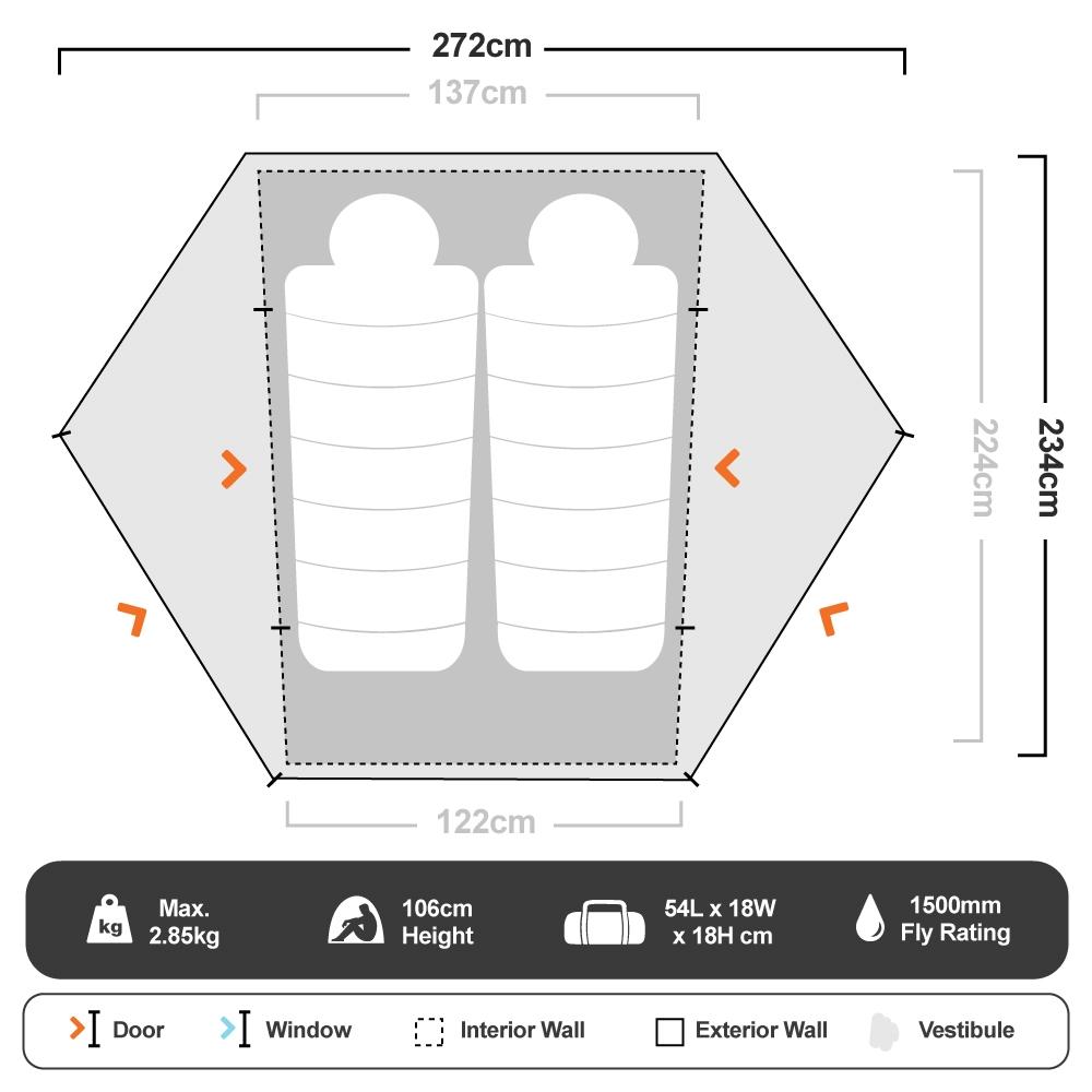 Fortress 2P Hiking Tent - Floorplan